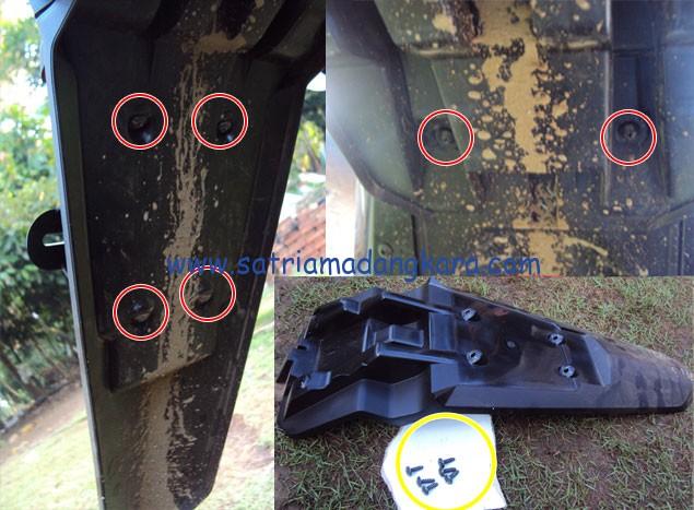 Modifikasi Yamaha Byson Bagian Belakang dengan melepas Enam Baut yang harus dicopot menggunakan obeng plus