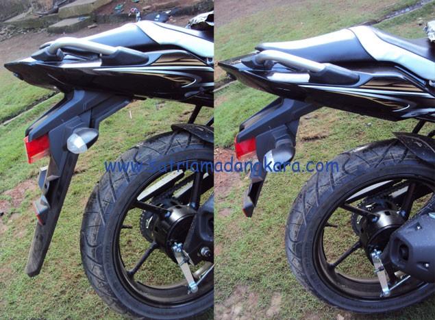 Modifikasi Yamaha Byson Bagian Belakang sebelum- sesudah dilihat dari samping