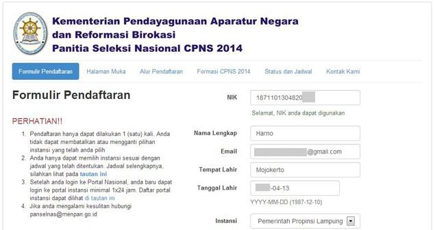 Cara Daftar Seleksi CPNS 2014 Tahap 1
