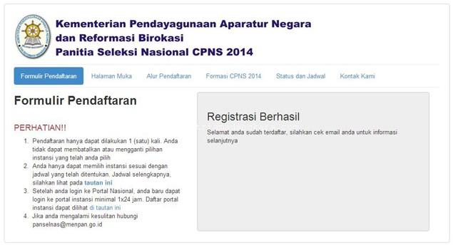 Langkah pertama Cara Daftar Seleksi CPNS 2014 Tahap 1